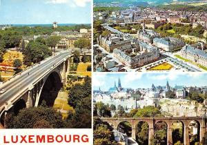 Luxembourg Bridge Highway Aerial view Town Hall Panorama