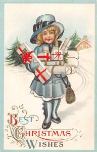 Best Christmas Wishes Little Girl With Gifts Antique Postcard K98767