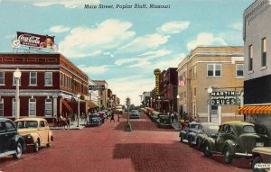 Main Street, Poplar Bluff, Missouri, Early Postcard, Unused