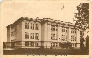 Conneaut Ohio~Flag Over High School with a Porte-Cochère~c1915 Sepia Postcard pc