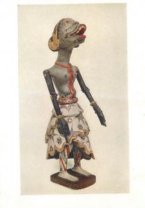 Wooden figure in the Wayang Klitik puppet plays Java Indonesia pictorial card