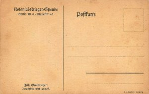 KOLONIAL KRIEGER SPENDE-JUNG AFRIKA WIRD GEIMPFT~WW1 GROTEMEYER GERMAN POSTCARD
