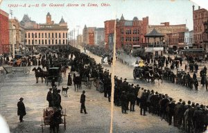 A 4-11 Or General Alarm in Lima, Ohio Horse-Drawn Fire Engines Postcard ca 1910s