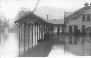 Plymouth New Hampshire~Railroad Station Flood Water~March 1936~Real Photo~RPPC