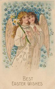 Easter Wishes Angels With Flowers 1908