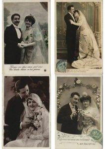 WEDDING GLAMOUR COUPLES REAL PHOTO ROBE DE MARIÉE MODE FASHION 48 CPA (L2964)