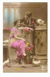 RP, Couple In Love, Pink Flowers, 1900-10s