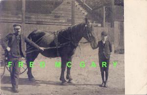 1907 Franklin New Hampshire RPPC: Adelard Juneau, His Father & Horse
