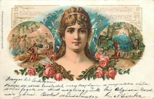 Postcard pre 1900 Beautiful Woman with Music F. Stassen signed Richard Wagner