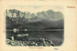 Garmisch Eibsee mit Zugspitze Lake Boat Mountain Postcard