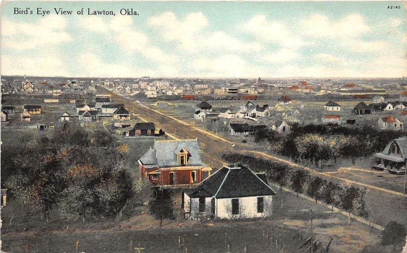 lawton oklahoma bird 39 s eye view street houses town comanche county c1910 pc hippostcard. Black Bedroom Furniture Sets. Home Design Ideas