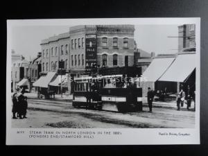 London Tram STEAM TRAM PONDERS END STAMFORD HILL c1880 Pamlin Print Postcard M99