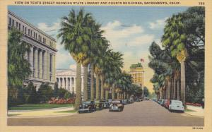 SACRAMENTO, California, PU-1945; View Of Tenth Street Showing State Library A...