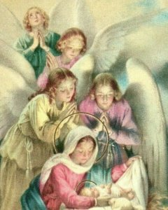 1920s Religious Italy Angels Looking Over Baby Jesus Mary Lamb P222