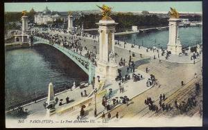 Alexander III Bridge Paris France c1910 unused