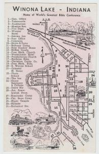 Winona Lake Indiana 1940s Postcard Bible Conference Map