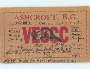 1930s QSL RADIO CARD Ashcroft - Near Cache Creek & Kamloops BC AH3273