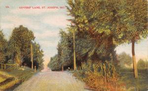 St Joseph Missouri~Lover's Lane Crests at Top of Hill~Fenced Fields~1909 PC