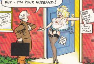 Confused Wife In Suspenders Forgets Her Husband Marriage Comic Humour Postcard