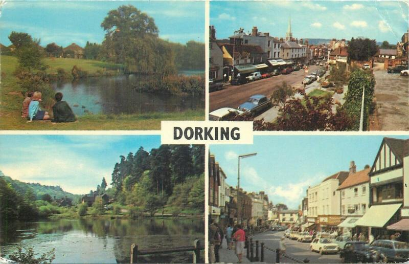Dorking multi views postcard