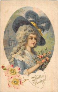 F99/ Valentine's Day Love Holiday Postcard c1910 SILK Prettyr Woman 27