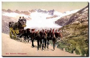 Old Postcard Switzerland Gebirgspost coaching inn Horses caleche