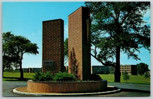 Valparaiso University IN~Entrance to Smoke Hospital~Brick Stone Tablets~1950s PC