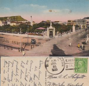 CARTAGENA COLUMBIA / PLAZA 1935 - 1935 cancel USS ship