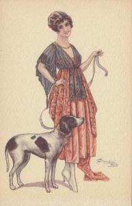 CHERUBINI ; Art Deco Female Portrait with Dog , 1910s #2