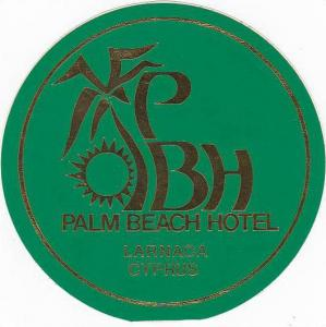 CYPRUS LARNACA PALM BEACH HOTEL VINTAGE LUGGAGE LABEL