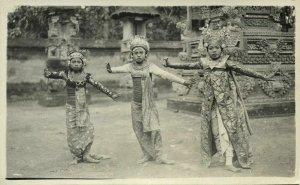 indonesia, BALI, 3 Beautiful Girls Legong Dancers (1930s) RPPC Postcard