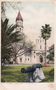 ST. AUGUSTINE, Florida, 00-10s; Cathedral from Plaza Street, Cannon