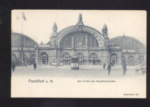 FRANKFURT GERMANY DAS PORTAL DES HAUPTBAHNHOFES RAILROAD VINTAGE POSTCARD
