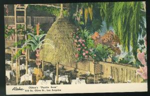 CA Los Angeles Cliftons Pacific Seas Restaurant Olive St Vntg Linen Postcard