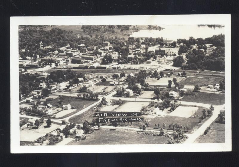 RPPC FREDERIC WISCONSIN AERIAL VIEW VINTAGE REAL PHOTO POSTCARD