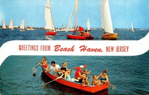 New Jersey Beach Haven Greetings With Sailboats & Crabbers