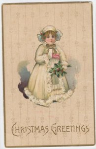 CHRISTMAS; Greetings, Girl in white fur trimmed coat, Holly, 00-10s