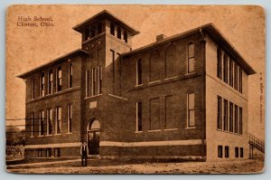 Clinton Ohio~Man in Front of Smaller High School~Long Steps Down Back~1912 Sepia
