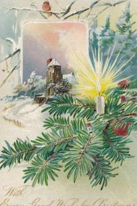 With Every Good Wish for Christmas, Lit candle and robin in pine branch, snow...