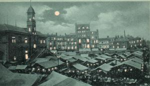 Circa 1901 The Market Place Leicester UK Hold to Light postcard