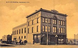 Jamestown ND Street View B. P. O. E. Elks Building Horses & Wagon Postcard