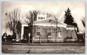 Glastonbury Connecticut~Post Office~A Friendly Town~Interstate 94~1940s B&W PC