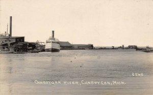 LPM47 Cheboygan River Michigan RPPC Postcard
