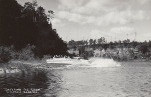 RP, WISCONSIN DELLS, Wisconsin, 1940-50s; Entering the River, Boat
