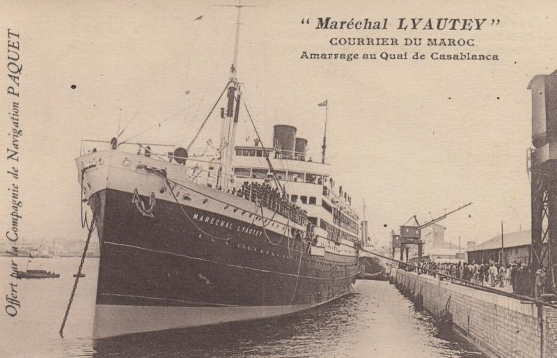 Casablanca , Morocco , 00-10s ; Ocean Liner Marechal LYAUTEY at wharf