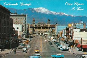 Colorado Colorado Springs Pikes Peak Avenue Showing Antlers Hotel and Pikes P...