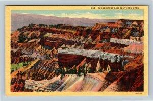 Southern UT-Utah, Cedar Breaks - Intricate Erosion Forms, Linen Postcard
