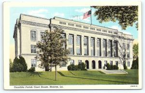 Postcard LA Monroe Ouachita Parish Court House Vintage Linen R23