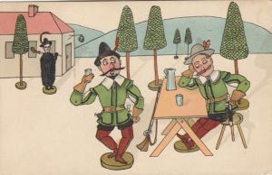 Dressed Stick Dolls having coffee, 1901-07
