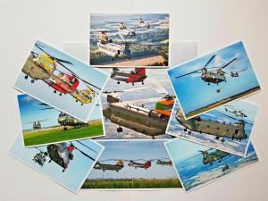 Postcard / Print SET of 9 RAF Chinook Helicopters,100th Anniversary Celebrations